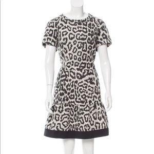 Sea knee-length dress with leopard print